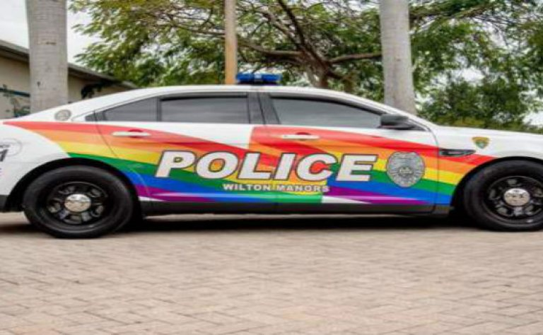 """Policing with Pride"": South Florida Police Department Paint Patrol Car in Support of LGBT Pride Image"